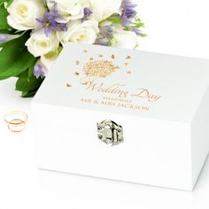 Choose from of Bride Gifts including unique and personalised wedding gift ideas :: Fast UK Delivery. Wedding Keepsake Boxes, Wedding Keepsakes, Engraved Wedding Gifts, Personalized Wedding Gifts, Wedding Doves, Wedding Day, Personalised Memory Box, White Wooden Box, Girls Jewelry Box
