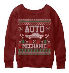 Auto Mechanic Ugly Christmas Sweater Dark Red Triblend Sweatshirt Front