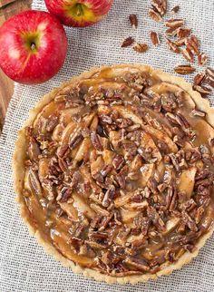 This Salted Maple Caramel Apple Tart is a simple but elegant fall dessert.