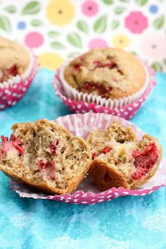 Raspberry Banana wheat muffins