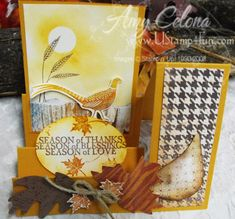 Autumn Days Stair Step Card Template and measurements.