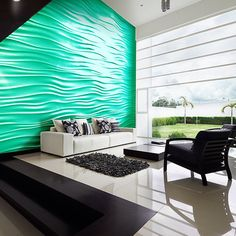 3D Architectural Wall Tile/ Wave Wall/ Seamless/ Plaster/ U.S./ 360designllp.com