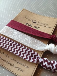 Aggies Gig 'em FOE Hair Ties Maroon, Chevron, White Glitter Texas A elastic pony tail holder on Etsy, $4.50