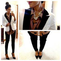 *blush polka dot button up + black pants + white tux blazer & black pumps  // Hello, Gorgeous!: