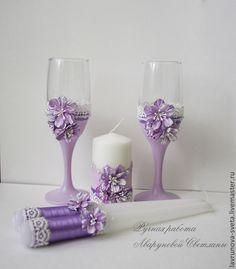 """Купить Свадебные аксессуары """"Лиловые сны"""" - сиреневый, свадебный набор, свадебные аксессуары, Бокалы, Свечи"""