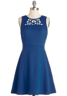 Champion Charm Dress - Blue, Solid, Cutout, Party, Americana, A-line, Sleeveless, Woven, Good, Mid-length