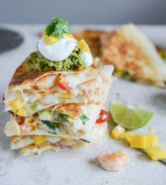 Made this for a special dinner night  and it was super delicious! Chipotle Beer Shrimp Quesadillas with Spicy Guac I howsweeteats.com