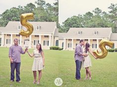 Year FIVE of marriage. Anniversary photo. Another cool idea use a number 5 balloon