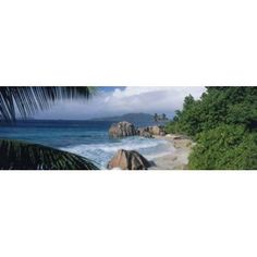 Indian Ocean La Digue Island Seychelles Canvas Art - Panoramic Images (18 x 6)