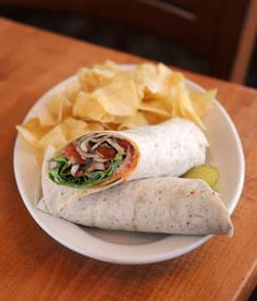 A Roasted Veggie Wrap Is Accompanied By House Made Potato Chips At Iron Springs Brewery Pub In Fairfax Calif