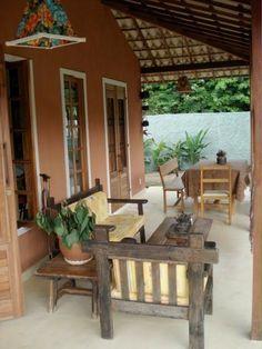 casas de campo simples com varanda - Pesquisa Google: Backyard Sheds, Backyard Patio, Outdoor Spaces, Outdoor Living, Outdoor Decor, Balinese Decor, Rest House, English Decor, House Of Beauty
