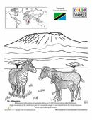 This geography worksheet stops in Tanzania. The coloring page shows off the biggest mountain in Africa along with a fun fact!