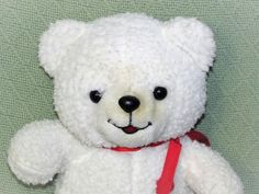 Smiling Wooly White Teddy Bear with Red FELT 3D HEART Plush Stuffed Animal Lovey #notags