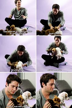 "Dylan O´Brien with puppies - ""If you weren't an actor, what career could you see yourself doing?"""