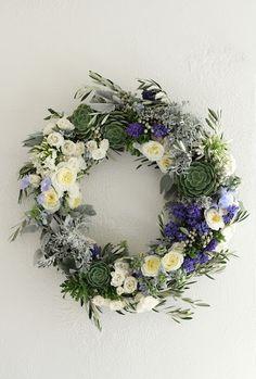 succulent+wreath+green+purple
