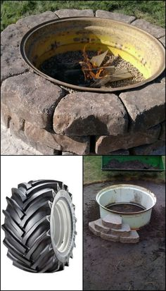Want a backyard fire pit? Build a tractor rim fire pit! This is one of the easiest DIY projects you can do for a backyard fire pit. It's easy, safe, and inexpensive as you can use an old tractor tire rim for it. Have a look at our gallery of beautiful Fire Pit Yard, Rim Fire Pit, Fire Pit Backyard, Fire Fire, Cheap Outdoor Fire Pit, Fire Pit Table, Indoor Outdoor, Backyard Projects, Outdoor Projects