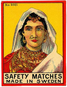 """Safety matches: The dangers of white phosphorus in the manufacture of matches led to the development of the """"hygienic"""" or safety match. The major innovation in Vintage Labels, Vintage Posters, Graphics Vintage, Matchbox Art, Vintage India, Perfect Match, Cover Art, Illustration, Ephemera"""