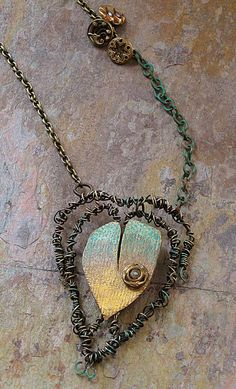 Entwined Heart pendant - polymer and wire