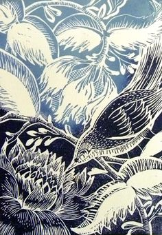 Winter Bird Original Lino cut print £45.00 Amanda Colville love the contrast