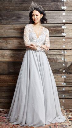 ivy aster bridal spring 2017 illusion long sleeve vneck aline wedding dress…