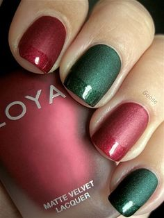 [Holiday nail art - MSN Living]  I love how she has matte finish on only part of the nail.