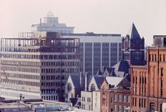 The Union Bank building (now Chase Building) at 200 Ottawa Ave. NW rises during construction in 1965. Also seen in the photo are the top of McKay Tower, the new Old Kent Bank building (now Fifth Third Center), the tower atop the Kent County Building, the Grand Rapids Police Dept. headquarters and the Fox Deluxe brewery. (Courtesy photo | Grand Rapids Public Museum).