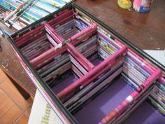 Organizador a partir de revistas recicladas (portacosmeticos)