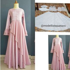 Gamis with side flare skirt pattern 💕 Open order, custom your own pattern, request design and size and get the best price 🌸 . Long Dress Patterns, Dress Making Patterns, Blouse Patterns, Dress Muslim Modern, Muslim Dress, Abaya Fashion, Fashion Dresses, Dress Brokat, Simple Gowns