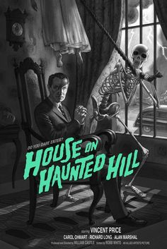 Vincent Price Horror Movie Poster Art : House On Haunted Hill 1959 by Jonathan Burton Horror Movie Posters, Movie Poster Art, Poster S, Scary Movies, Old Movies, Vintage Movies, Retro Horror, Vintage Horror, Vincent Price