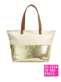 Sequin Embellished Canvas Beach Bag Liques Bags Purses