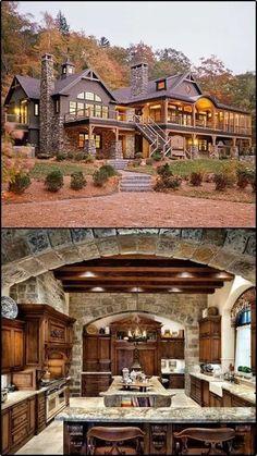 Small Log Cabin, Log Cabin Homes, Dream House Exterior, Dream House Plans, Dream Houses, Dream Home Design, My Dream Home, Log Home Plans, Cabin Design