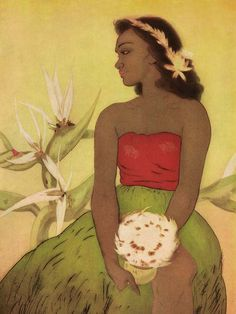 This vintage picture of Hawaiian art -Seated Hula Girl- was Menu Art and graced the covers of menus at Royal Hawaiian Hotel in Waikiki in the early 1950's.