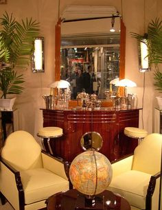 Art deco Bar and chairs. Mirror with colour stripes for living room
