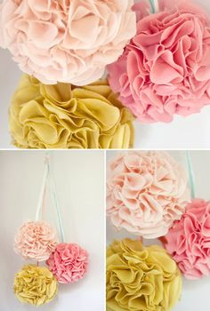 These wedding pom pom decorations are perfect for a spring state of. Pom Pom Decorations, Wedding Decorations, Diy And Crafts, Crafts For Kids, Paper Crafts, Wedding Ideas Do It Yourself, Fabric Pom Poms, Wedding Pom Poms, Festa Party