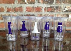 Bridal Party Wedding Tumblers  16 ounce plastic or by VinylGifts, $10.00