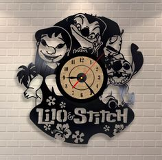 Lilo and stitch vinyl record clock
