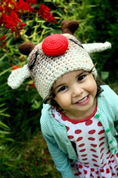 6 to 12m Christmas Baby Reindeer Hat Red Nose Rudolph Christmas Hat - Crochet Unisex Baby Hat Christmas Reindeer Photo Prop by Baba Moon
