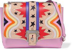 Paula Cademartori Alice laser-cut suede and leather shoulder bag