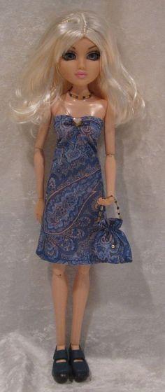 """MOXIE TEENZ 14"""" Doll Clothes #22 Handmade Dress, Beaded Necklace & Purse Set #HandmadebyESCHdesigns"""