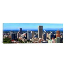 "East Urban Home Panoramic 'Portland, Oregon' Photographic Print on Canvas Size: 30"" H x 90"" W x 1.5"" D"