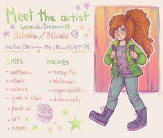 Meet the artist meme - by LavenderDreamer13 on tumblr http://lavenderdreamer13.tumblr.com/post/138405249230/im-late-as-heck-for-this-meet-the-artist-meme art