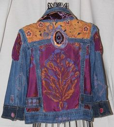 Denim Jacket with Plum and Orange insets - Size M. $169.00, via Etsy.