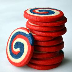 Slice and bake your way to a patriotic July party with Red, White and Blue Pinwheel Icebox Cookies! Making these for the red white blue themed coffee hour after church this Sunday. Patriotic Desserts, Blue Desserts, 4th Of July Desserts, Patriotic Party, Icebox Cookie Recipe, Icebox Cookies, Cookie Recipes, Dessert Recipes, 4th Of July Party