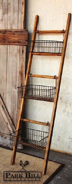 Park Hill Collection's #Ladder with #WireBaskets                              …