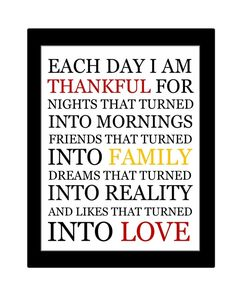 Printable Each Day I Am Thankful Quote Print - Can do any colors - No. 97. $5.00, via Etsy.