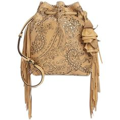 Patricia Nash Laser Lace Niccioleta Drawstring Bag ($187) ❤️ liked on Polyvore featuring bags, handbags, wheat, beige purse, patricia nash purses, bohemian handbags, laser-cut handbags and fringe crossbody purse