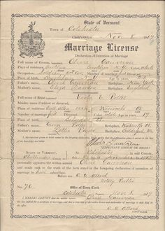 Colchester Vermont 1917 Vintage document Soldier 2nd Calvary Marriage license