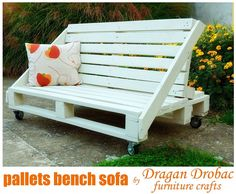 """This pallet bench sofa is made from two and half pallets, painted in """"elephant bone"""" color. Project by Dragan Drobac. [media_id:463560]  [media_id:463567]"""