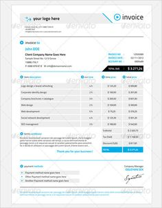 Blue Blank Invoice Templates Design  Blank Invoice Template Pdf