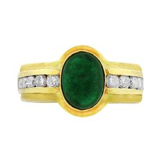 Cabochon Emerald Diamond Ring